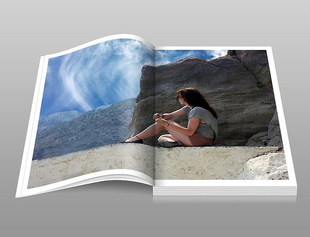 fotokniha, žena, moře