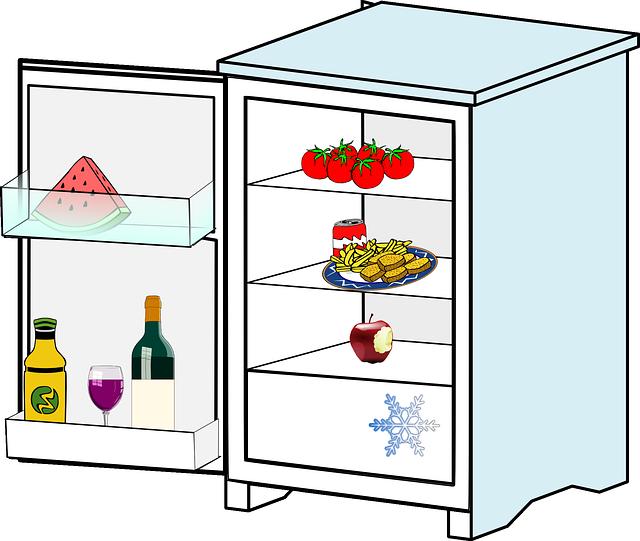 lednice, jídlo vločka, pití
