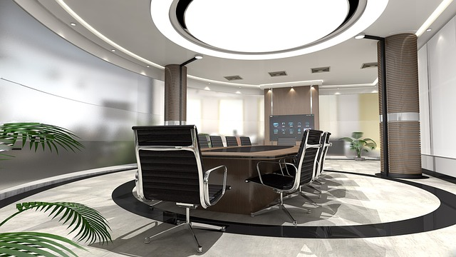 moderní kancelář, židle, oválný stůl