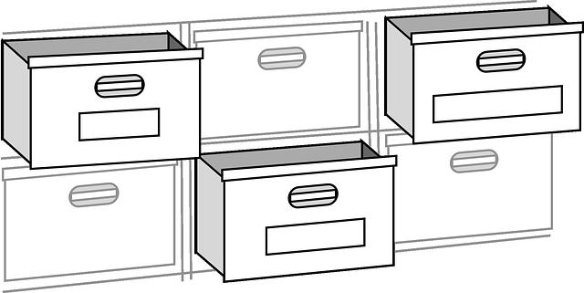 kartotéka, otevřené a zavřené šuplíky