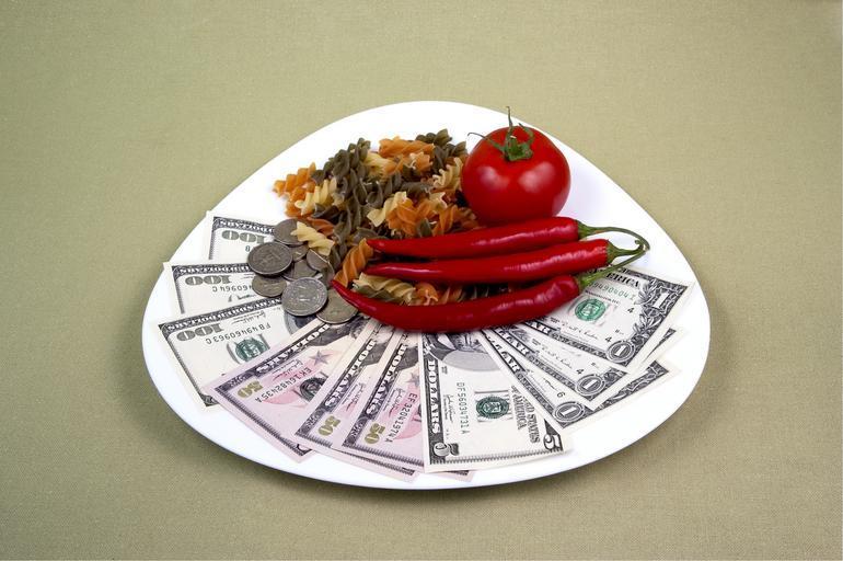 peníze jako na talíři