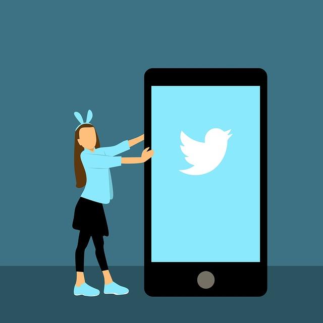 kreslený obrázek děvčete ukazující na telefon